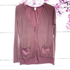Free People | Burgundy & Gray Striped Cardigan